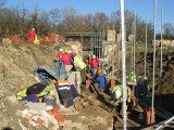 The work for the weekend included bricklaying at lock 4 ...