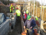 We laid seven courses of bricks over the weekend.