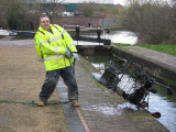 Nigel recovers the first of 13 trolleys from Ryders Green Bottom Lock