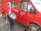 Kate kicks the van door in in her hurry to get to site