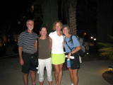 Saturday night in Las Vegas.  Brad, Barb, and Audrey crew for Bonnie Busch