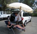 Dave Heckman buys a big umbrella