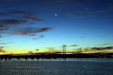 Moon and Venus at Orleans Island Bridge Québec