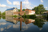 mill with cloud reflection
