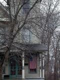 house with a flag...