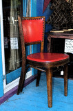red leather chair...