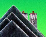 les toits et le ciel vert