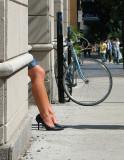 les jambes et le vélo