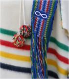 Metis 'Infinity Symbol' and sash on Hudson Bay Blanket Capote
