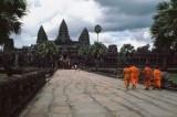 Monks approaching Angkor Wat