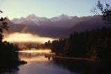 Morning mist over Lake Matheson