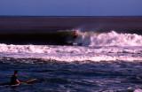 Surfer caught by big wave, Sigatoka