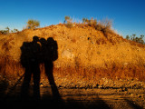 Nathalie and Aaron, desert kiss.