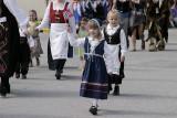 In traditional Norwegian attire
