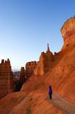 Yukiko looking at sunrise from Navajo Trail
