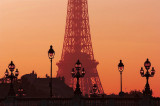 Alexandre III bridge and Tour Eiffel sunset
