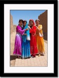 Four Uygur Girls Wearing Colorful Costumes at Ancient City of Gaochang
