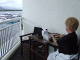 Mom on Shangi-La Hotel Room Balcony Overlooking Trinity Bay Marina