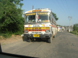 The bus terrorized us on the way back from Palumpur, here shown trying to pass as a blind curve approaches.  Honked nonstop.