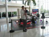At a race car exhibit inside the Heathrow Hilton