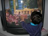 Watching television at Wayne and Petra's