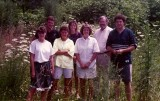 Left to right:  children Molly, Landrum, Gillian, Elise, former wife Mary, and, on far right, Christopher, Shelbyville, c. 1983