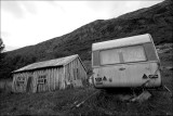 Sliten campingvogn