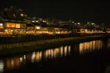 River scene at night, Kyoto