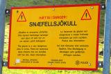 Warning sign of the dangers of glaciers, Snæfellsnesjökull