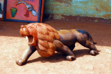 Carved wooden lion, Abomey, Benin