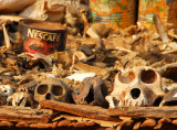 Part of the market in Abomey is dedicated to Vodon (voodoo) paraphenalia