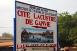 Sign for the turn for the Ganvié boat landing