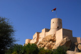 Nakhl Fort is located inland from Barkha on the road to Rustaq at the base of the Western Hajar Mountains