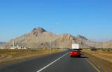 The main road of western Oman between Nizwa and Bahla