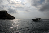 Dive boat heading to the Dimaniyat Islands