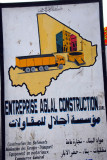 Construction company sign with the outline of Mali
