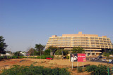 Modern-ish commercial building at the end of the Niger River Bridge, Niamey
