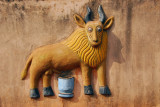 Buffalo and clay jar, symbol of King Ghezo
