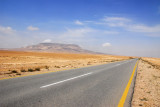 The road through the Syrian desert from Damascus to Palmyra