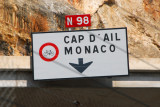 Road sign for Cap d'Ail and Monaco