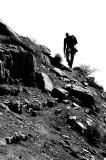 Climber heading for a climb of the south face