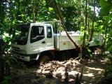 Samaritan's Purse truck stuck in the mud