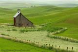 Barn in Green Field Landscape