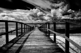 Wharf at Southend in monochrome