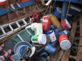 supplies in the bottom of the boat