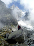 Nantillons glacier with cloud swirling