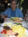 Dinner (grilled salmon)  at Café Lutèce with Mary