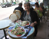 Jacqueline, salads at a Place Monge café