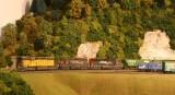 Southbound grain test train behind Hammill engine terminal