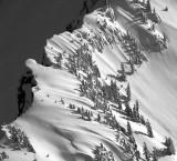 snow drift near cliff